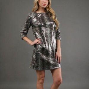 3/4 Sleeve Snake Sequin Dress